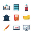 white background with business icons vector image