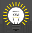 Business idea design with bulb and city buildings vector image