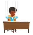 Businesswoman marionette on ropes working vector image