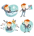 Set of hipster officeman lazy worker foot o vector image