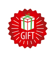 logo gift in a red circle vector image vector image