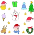 hand draw set of object christmas vector image
