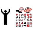 Hands Up Pose Flat Icon with Bonus vector image
