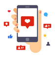 heart on smartphone screen hand hold smartphone vector image