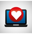laptop icon like heart social media vector image