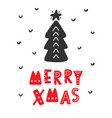 merry christmas scandinavian greeting card vector image