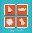 New Year holiday christmas icons vector image