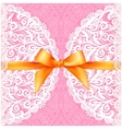 Pink lacy wedding card with orange silky bow vector image