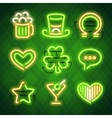 St Patricks Day Glowing Neon Signs Set vector image