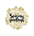 Xmas golden wreath and seasons greetings vector image