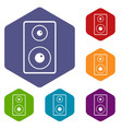 subwoofer icons set hexagon vector image