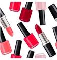 Seamless pattern - lipsticks and nail varnishes vector image vector image