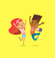 excited boy and girl of different races laugh vector image