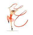 female gymnast exercising rhythmic gymnastics with vector image