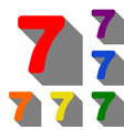 number 7 sign design template element set of red vector image