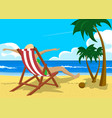 woman sitting in deck chair on tropical beach vector image