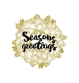Xmas golden wreath and seasons greetings vector image