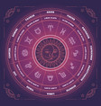 zodiac circle with horoscope signs colorful vector image