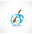 Cup of tea with spoon grunge icon vector image vector image