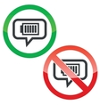 Charged battery message permission signs vector image
