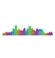 Houston skyline silhouette - multicolor line art vector image