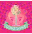 Wine tasting card grape sign and a colored glass vector image
