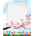 Paper design with flowers and fairies vector image