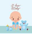 I love baby cute boy teddy rattler and bottle milk vector image