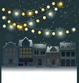 Christmas background with small town vector image
