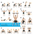 Dumbbell exercises and workouts weight training vector image