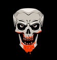 evil skull and blood halloween zombie undead vector image