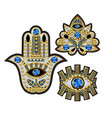 hamsa all-seeing eye and lotus patches vector image