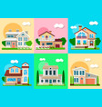 houses mansions and villa cottages real estate vector image