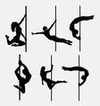 Pole dancer female silhouettes vector image