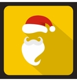 Red hat and beard of Santa Claus icon flat style vector image