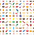 hundred various food and drink color icons vector image