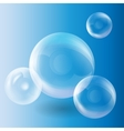 Group of transparent spheres on a blue background vector image
