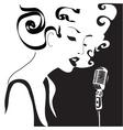 retro woman singing vector image