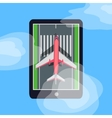 Airplane on Runway in Smartphone Blue Sky Cloud vector image