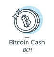bitcoin cash cryptocurrency coin line icon of vector image