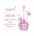 hand drawn cupcake special birthday flavor vector image