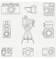 Line flat icon set with retro analog film vector image