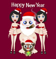 santa claus and girls vector image