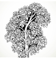 Graphically drawing black ink tree with bushy vector image