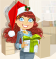 Christmas Office Lady vector image vector image