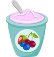 Berry Yoghurt And Spoon vector image