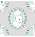 Rabbit in the frame Seamless background Hand vector image vector image