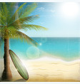 Ocean beach with surf board vector image vector image