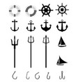 Nautical icons isolated vector image