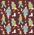 woman autumn retro fashion seamless pattern vector image